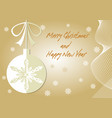 beige christmas card with christmas ball paper cut vector image vector image