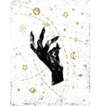 black witchs hand with cosmos on white textured vector image vector image