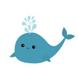 blue whale and fountain sea ocean life cute vector image vector image
