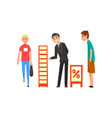businessman character promoting products or vector image