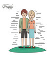 caricature couple people line young man and vector image vector image