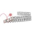 cartoon virus pushing down people like a domino vector image vector image