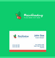 cherries logo design with business card template vector image