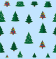 christmas tree seamless pattern winter vector image vector image