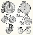 collection of hand drawn bicycles for design vector image