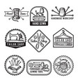 different monochrome labels for sewing or tailor vector image vector image