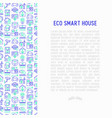 Eco smart house concept with thin line icons