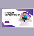 ether cryptocoin mining flat poster vector image vector image