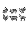 farm animals silhouettes retro labels set rabbit vector image vector image