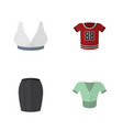 flat icon dress set of t-shirt casual brasserie vector image vector image