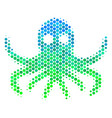 halftone blue-green octopus icon vector image