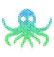 halftone blue-green octopus icon vector image vector image