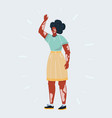 happy vitiligo woman waving her hands on white vector image vector image