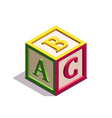 isometric kids block with letters abc on its sides