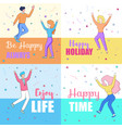joyfull faceless male and female characters dance vector image vector image