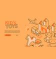 kids toys - line design style orange isometric web vector image vector image
