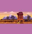 landscape sunset summer building home cafe vector image vector image