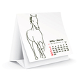 March 2014 desk horse calendar vector image vector image