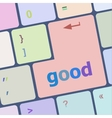 News concept Good on computer keyboard background vector image