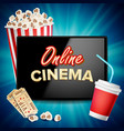 online cinema banner realistic tablet vector image vector image