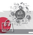 Paper and hand drawn shopping bag emblem with vector image