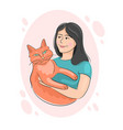 people hugs together with lovely domestic cat vector image vector image