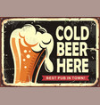 pub sign with glass beer vector image vector image