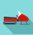 santa snowmobile icon flat style vector image vector image