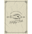 seafood restaurant label template flounder fish vector image