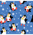 Seamless pattern with funny penguins and snowflake vector image