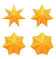 set four golden seven point stars vector image