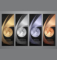 set of black banner gold platinum silver vector image