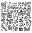 set of cute hand-drawn christmas elements vector image vector image