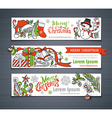 set of red green and white Christmas horizontal vector image