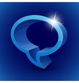 Shining 3d chat bubble symbol on blue background vector image vector image