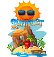 Summer theme with island and ocean vector image vector image