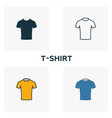 t-shirt icon set four elements in diferent styles vector image