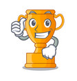 thumbs up cartoon trophy cup with star on cyan vector image