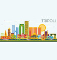 Tripoli skyline with color buildings and blue sky vector image