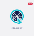 two color pizza slice cut icon from food concept vector image