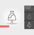 wedding dress line icon with shadow and editable vector image