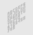 white vertical isometric font alphabet from left vector image vector image