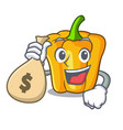 with money bag character ripe yellow pepper for vector image vector image