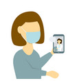 woman receiving medical online consultation using vector image
