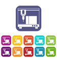 3d printer icons set vector image