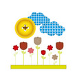 colores and figures flowers plants icon vector image