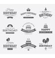 Black Birthday Labels Set vector image