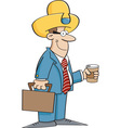 Cartoon businessman wearing a cowboy hat vector image