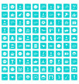 100 emotion icons set grunge blue vector image vector image