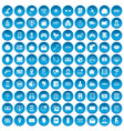 100 telephone icons set blue vector image vector image